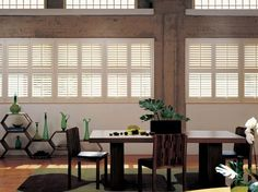Hunter Douglas Shutters with divider bar and traditional tilt bar