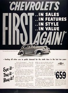1940 Chevrolet Deluxe Sport Sedan original vintage ad. First in sales, features, style and value. Chevrolet is leading all cars in public demand for the ninth time in the last ten years. Deluxe Sport Sedan starts at $802 delivered at Flint, Michigan.