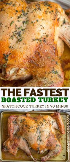 Spatchcock Turkey made with herbs and spices has the backbone removed and is pre. Spatchcock Turkey made with herbs and spices has the backbone removed and is pressed flat for an incredibly flavorful and FAST turkey dinner, ready in only 90 minutes! Turkey Dishes, Turkey Recipes, Chicken Recipes, Thanksgiving Recipes, Holiday Recipes, Thanksgiving Turkey, Recipes Dinner, Thanksgiving Celebration, Vegetables