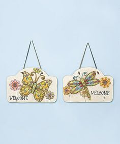 Take a look at this Dragonfly & Butterfly 'Welcome' Wall Art Set by Transpac Imports on #zulily today!