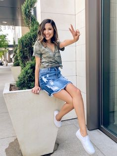ShopStyle Look by chicmeowt featuring Aeo AE Soft & Sexy Camo Tee and Forever 21 Distressed Denim Mini Skirt Midi Skirt Outfit Casual, Denim Skirt Outfits, Cute Outfits With Jeans, Blue Denim Skirt, Cool Outfits, Casual Outfits, Denim Skirts, Jean Skirts, Denim Dresses