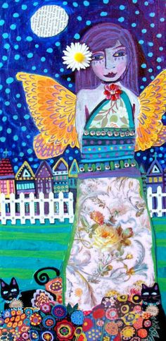 Butterfly Angel Fairy Poster Print of Heather Galler Painting Black Cat Blues Purple Orange Picket Fence. $24,00, via Etsy.