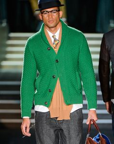 Fall 2013 men's Trend Report chunky green cardigan dsquared