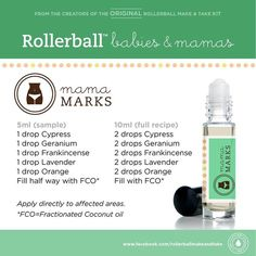 Essential oils roll-on recipe for mama marks.  For more info on Young Living Essential Oils, visit:  www.TheSavvyOiler.com