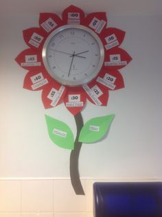 Completed clock telling the time flower. Just needs the hour leaf shortening.