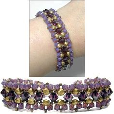 Seed bead jewelry Around The Beading Table: Free bead pattern: the Royal Crystal Bracelet. Don't like the colors, but like the pattern. Beading Patterns Free, Beaded Bracelet Patterns, Woven Bracelets, Crystal Bracelets, Bead Patterns, Free Pattern, Beads Jewelry, Jewelry Crafts, Jewelry Bracelets