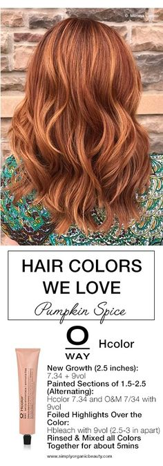 Fall is arriving and soon you'll be getting calls from clients eager to change their hair color. Get inspired by this week's trending hair color formulas. Oway Hair Color, Ammonia Free Hair Color, Organic Protein Powder, Organic Molecules, Hair Color Formulas, Simply Organic, Organic Shampoo, Organic Beauty, Fall Hair