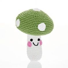 Friendly Apple Green Mushroom or Toadstool Baby Rattle Handmade toadstool baby rattle. Crochet Cotton, fair trade, suitable from birth. An ideal newborn baby toy that is good for imaginative play as baby develops. Hand Crochet, Crochet Toys, Trade Logo, Crochet Mushroom, Toy Kitchen, Green Kitchen, Baby Toys, Baby Play, Baby Rattle