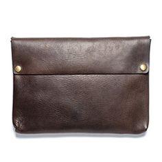 Soft Leather Portfolio with Brass Snaps