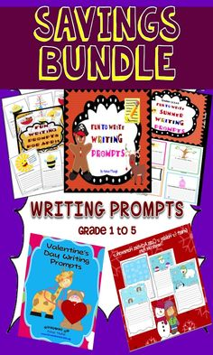 ★★HUGE Savings Writing Prompts Bundle!! This 86 page BUNDLE of Writing Prompts include all the FUN Writing Prompts you could use with Grade 1 to Grade 5 students throughout the year. Save $12.75 with this BUNDLE! Use them for journaling, homework, workshop or as supplementary worksheets for early finishers.  Now you could buy $21.25 worth of products only at $8.50