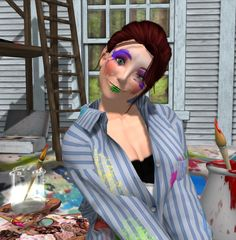 You'll be sure to impress when you paint your face like an Impressionist with Sloppy Watercolor Make-Up! From Curio Obscura in Second Life. #secondlife