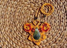 Macrame necklace Rainforest Jasper bohemian jewelry by QuetzArt