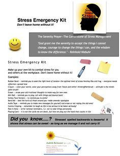 Make up your own stress kit!  Click the sheet for more Tips and Tools for The Therapeutic Toolbox! | rePinned by CamerinRoss.com