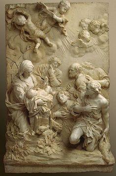 """""""Adoración de los pastores 'escultura de mármol de Giovanni Battista Foggini escultura de mármol c.1675 vía hojas de ciruelo"""