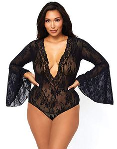Show off just enough to tease with this sexy bodysuit from Leg Avenue that incorporates retro-inspired bell sleeves with a truly ultra-sexy deep-v neckline. The bell sleeve bodysuit has a stunning stretch floral lace pattern throughout its mesh fabric. Bodysuit Lingerie, Plus Size Lingerie, Lace Bodysuit, Sexy Lingerie, Teddy Bodysuit, Full Figure Lingerie, Deep V Bodysuit, V Neck Bodysuit, Red Manga