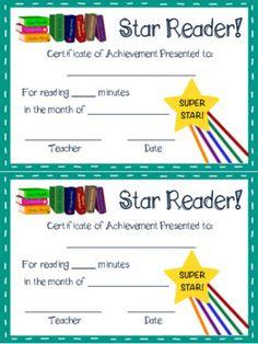 Reading Logs and Award Certificates Freebie! Reading Logs, Free Reading, Reading Practice, Award Certificates, Teaching Ideas, Awards, Teacher, Goals, Professor