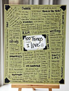 100 things I love writing prompt