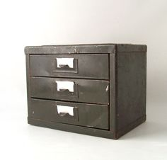 vintage industrial metal storage box chest of drawers by RecycleBuyVintage, $56.00