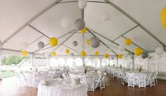A yellow and grey wedding reception