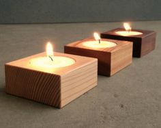 Wood Candle Holders - Square - With Tea Lights - 3 Pcs