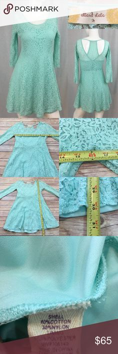 💫Medium Altar'd State Teal Lace Fit & Flare Dress Measurements are in photos. Normal wash wear, no flaws. B2/53  I do not comment to my buyers after purchases, due to their privacy. If you would like any reassurance after your purchase that I did receive your order, please feel free to comment on the listing and I will promptly respond.   I ship everyday and I always package safely. Thank you for shopping my closet! Altar'd State Dresses Mini