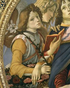 Sandro Botticelli, Madonna of the Pomegranate, circa 1487. Uffizi Gallery of Florence, Italy - detail of one of boy angels -