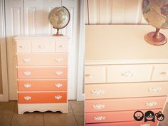 Give an old dresser a fun new look with these easy DIY ideas! Check out ways to paint your dresser in ombre shades or opt for bold pattern by using wallpaper. Furniture Making, Diy Furniture, Furniture Design, Furniture Projects, Shabby Chic Furniture, Painted Furniture, Refurbished Dressers, Home Interior, Furniture Makeover