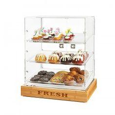 "Rosseto 2 Door Acrylic Bakery Cabinet with ""FRESH"" Bamboo Base"