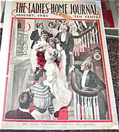 $50 antique January, 1901 George Gibbs ladies home journal magazine Cover print LHJ New Years eve Victorian Party