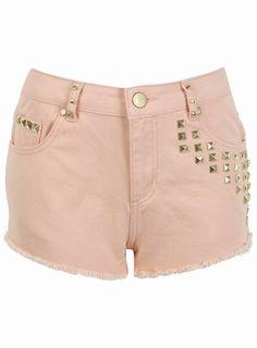 adorible studed peach shorts so cute i just love summer