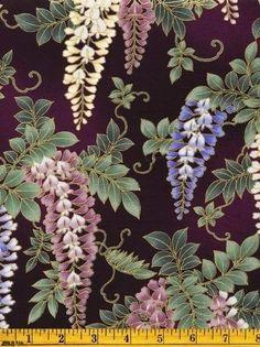 Japanese Hoffman Gilded Wisteria Keiko's Garden Floral Quilt Fabric OOP Cotton #HoffmanCaliforniaFabrics
