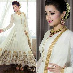 Designer Anarkali White Salwar Suit