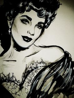 Liz Taylor   Vintage Retro Beauty  Pin-Up Art of Therese Rosier   Ink | Acrylic