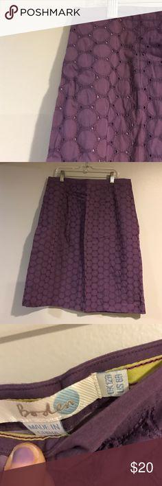 Eyelet Skirt from Boden Super easy staple for warmer months. 20 inches long. Purple. Boden Skirts Mini
