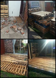 My pallet decking, lots of pallets hard work (and help) but great project and only cost was screws and decking stain. Oh and lights from ebay for £20. Made a wall planter in the corner too.
