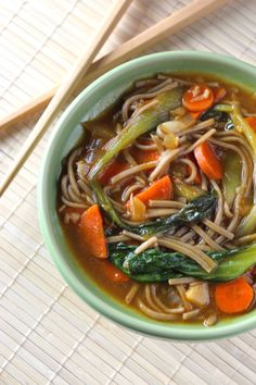 Healthy Asian Soba Noodle Soup6 oz. soba noodles 1 medium onion [chopped] 3 Tablespoons olive oil 24 oz. vegetable broth 3 baby bok choy [separated, washed, and cut in half long ways) 1 teaspoon sea salt 3 Tablespoons tamari sauce 2 medium carrots [thin sliced] 4 cloves of garlic [chopped] ½ teaspoon cayenne