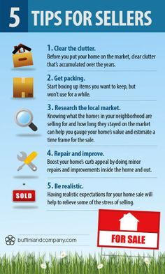 5 tips to share with your sellers today! - Selling House Tips - Ideas of Selling House Tips - 5 tips to share with your sellers today! Selling Home By Owner, Home Selling Tips, Selling Real Estate, Real Estate Investing, Real Estate Quotes, Real Estate Tips, Real Estate Business, Real Estate Marketing, Real Estate Courses