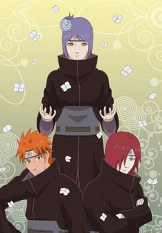 Yahiko, Nagato and Konan: The Amegakure Orphans and founders of the Akatsuki.