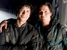 The 100 CW - Bob Morley, Thomas Mcdonell - Bellamy Blake, Finn Collins - friends don't let friends be blood must have blood for grounders