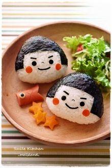 Kintaro onigiri for the Boy's Festival on May Bento Box Lunch For Kids, Bento Kids, Japanese Bento Box, Japanese Food Art, Kawaii Bento, Cute Bento, Bento Recipes, Baby Food Recipes, Bento Tutorial