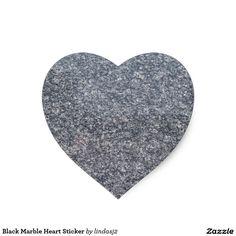 Black Marble Heart Sticker