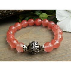 Pink Cherry Quartz Stretch Bracelet, Bali Sterling Silver Bracelet,... ($38) ❤ liked on Polyvore featuring jewelry, bracelets, pink quartz jewelry, sterling silver jewellery, sterling silver bangles, beaded jewelry and cherry jewelry