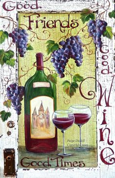 "WINE BAR Sign **Wine Bottle and Glasses with Grapes **  11"" x17"" Print of Original Acrylic on Canvas"