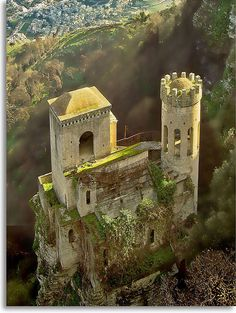 Erice Castle, Sicily, Italy - One of my favorite spots!! You can see all of Trapani and far out the Mediterranean Sea