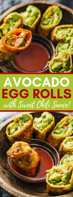 Sep 2019 - These avocado egg rolls are fricasseed to firm flawlessness and presented with a delicious sweet stew sauce. This formula is vegan and a group most l… Vegetarian Egg Rolls, Vegan Egg Rolls, Avocado Egg Rolls, Pork Egg Rolls, Chicken Egg Rolls, Vegetarian Recipes, Vegan Vegetarian, Healthy Egg Rolls, Vegetarian Appetizers