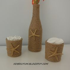 HOBİLERİM VE BEN: KAVANOZ SÜSLEME Rope Crafts, Burlap Crafts, Seashell Crafts, Wine Craft, Wine Bottle Crafts, Handmade Crafts, Diy And Crafts, Diy Tie Dye Shirts, Pots
