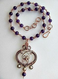 copper heart with amethyst chain