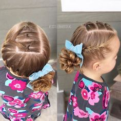 3 sideways topsy tails into a french braid wrapped around to a side messy bun! Click the link in my bio to purchase my favorite elastics, spray gel, AND a topsy tail tool - PERFECT stocking stuffers! Cute velvet bow from my favorite shop Teenage Hairstyles For School, Little Girl Hairstyles, Side Braid Hairstyles, Pretty Hairstyles, Toddler Hair, Hair Humor, Hair Today, Hair Dos, Curly Hair Styles
