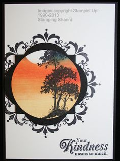 "Stampin"" Up! ... hand crafted card from Stamping Shann ... brayered sunset scene in a circle ... luv the look ..."