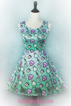 Pastel Oracle Witch Tools Printed Skater Dress Fairy Kei Pastel Goth Kawaii Plus Size